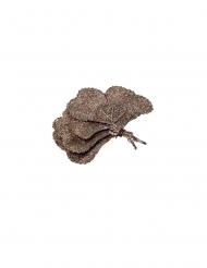 5 Feuilles de ginkgo paillettes or givré 10 cm