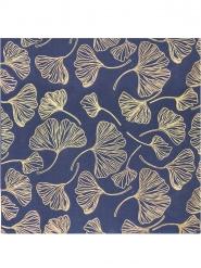 16 Serviettes en papier feuilles de ginkgo marine et or 33 x 33 cm