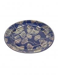 8 Assiettes en carton feuilles de ginkgo marine et or 23 cm