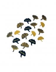 100 Confettis feuille de ginkgo marine et or 3-4 cm