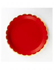8 Assiettes en carton festonnées rouges et dorées 23 cm