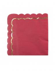 16 Serviettes en papier festonnées rouges et dorées 33 x 33 cm