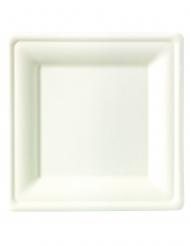 25 Petites assiettes carrées fibre de canne 15 x 15 cm