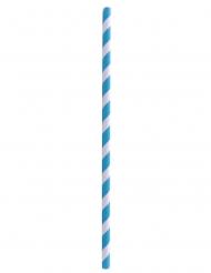 100 Pailles en papier rayées bleues et blanches 20 cm