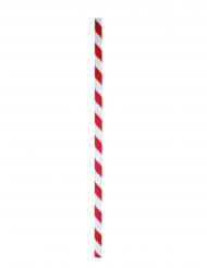 100 Pailles en papier rayées rouges et blanches 20 cm