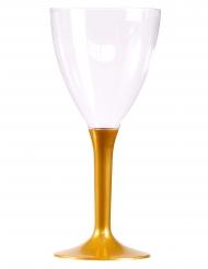 10 Verres à vin pied or 160 ml