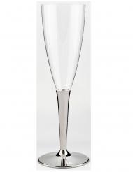 10 Flûtes à champagne pied métallisé argent 150 ml