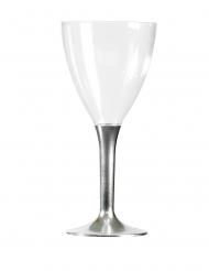 10 Verres à vin pied métallisé argent 160 ml