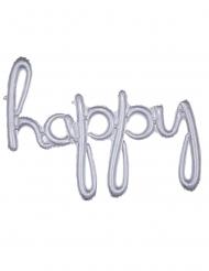 Ballon aluminium happy argenté 99 x 68 cm