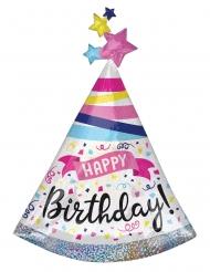 Ballon aluminium chapeau de fête happy birthday cotillons multicolore 68 x 91 cm