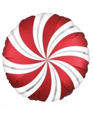 Ballon aluminium sweet candy rouge et blanc 43 cm