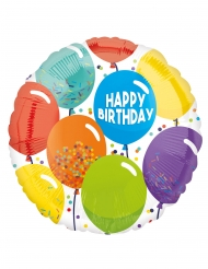 Ballon aluminium happy birthday multicolore 43 cm