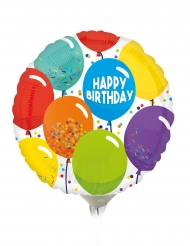 Petit ballon aluminium happy birthday multicolore 23 cm