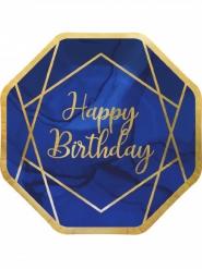 8 Assiettes en carton octogonales happy birthday marbre bleues et dorées 23 cm