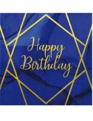 16 Serviettes en papier happy birthday marbre bleues et dorées 33 x 33 cm