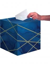 Urne en carton marbre bleue et dorée 30 x 30 cm