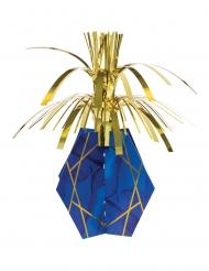 Centre de table carton en cascade marbre bleu et doré 33 cm