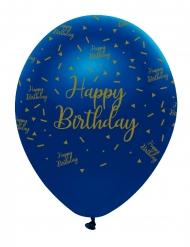 6 Ballons en latex happy birthday marbre bleus et dorés 30 cm