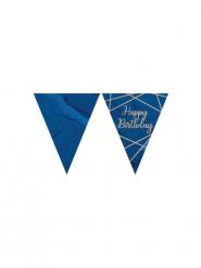 Guirlande fanions en plastique happy birthday marbre bleue et dorée 3,7 m