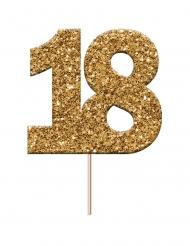 Cake topper en plastique chiffre 18 doré pailleté 3,8 x 4 x 6,5 cm