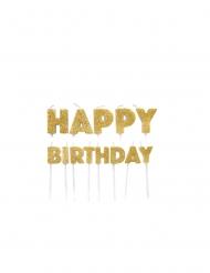Bougies sur pics happy birthday dorées pailletées 5,5 à 7 cm