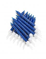 12 Bougies d'anniversaire bleues pailletées 7,5 cm