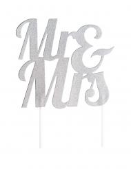 Cake topper en plastique Mr & Mrs argenté pailleté 18 x 23 cm