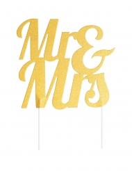 Cake topper en plastique Mr & Mrs doré pailleté 18 x 23 cm