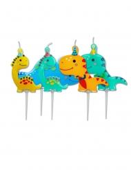 5 Bougies d'anniversaire sur pics dinosaures 7,3 cm