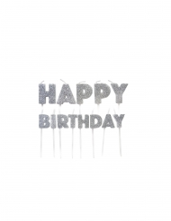 Bougies sur pics happy birthday argentées pailletées 5,5 à 7 cm