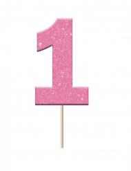 Cake topper en plastique chiffre 1 rose pailleté 2,3 x 3,8 x 6,5 cm