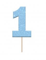 Cake topper en plastique chiffre 1 bleu pailleté 2,3 x 3,8 x 6,5 cm