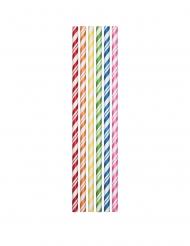 24 Pailles en carton flexibles multicolores 19,7 cm