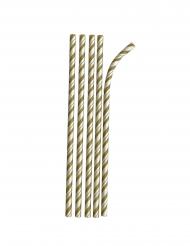 24 Pailles en carton flexibles biodégradables dorées 19,7 cm