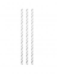 24 Pailles en carton flexibles biodégradables argentées 19,7 cm