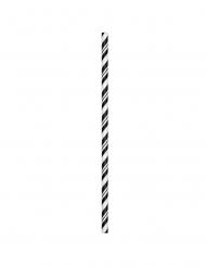 24 Pailles en carton flexibles noires 19,7 cm