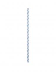 24 Pailles en carton flexibles biodégradables bleu pastel 19,7 cm