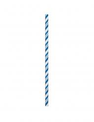 24 Pailles en carton flexibles bleues 19,7 cm