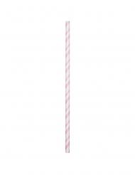 24 Pailles en carton flexibles rose pâle 19,7 cm