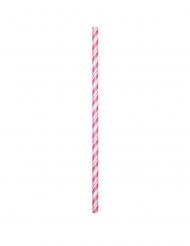 24 Pailles en carton flexibles roses 19,7 cm