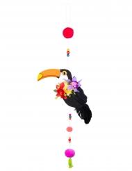 Suspension toucan avec pompons 70 cm