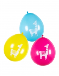 6 Ballons en latex lama multicolores 25 cm