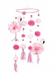 Suspension flamant rose avec pompons roses 60 x 16 cm