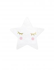 20 Serviettes en papier petite étoile blanche 16 x 16 cm