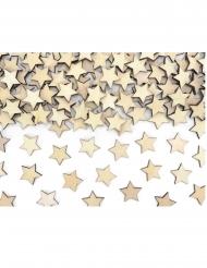 50 Confettis en bois étoiles naturelles 2 x 2 cm