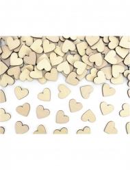 50 Confettis en bois cœurs naturels 2 x 2 cm