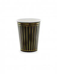 6 Gobelets en carton noirs et bandes dorées 260 ml