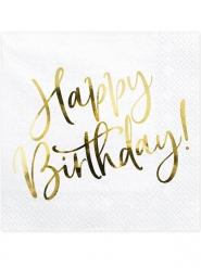 20 Serviettes en papier happy birthday blanches et dorées 33 x 33 cm