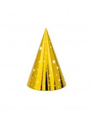 6 Chapeaux de fête en carton dorés étoiles blanches 16 cm