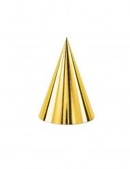 6 Chapeaux de fête en carton dorés 16 cm